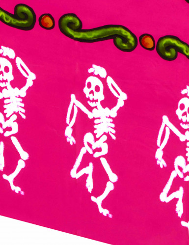 Tovaglia rosa di plastica scheletri Halloween-1
