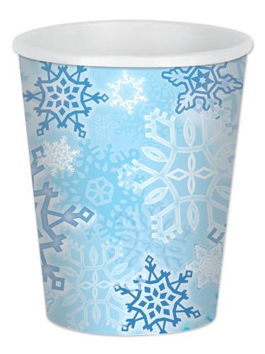 8 Bicchieri in cartone Fiocco di neve 25 cl