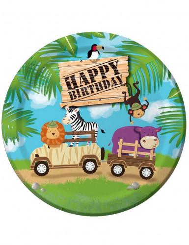 8 piatti per compleanno decorati safari avventura