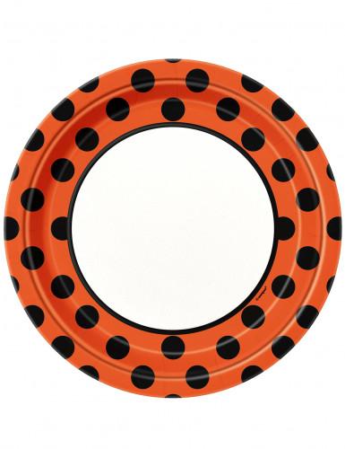 8 piatti di cartone a pois arancioni e neri
