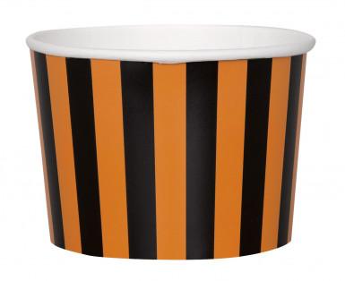 8 coppette in carta a righe arancioni e nere per Halloween