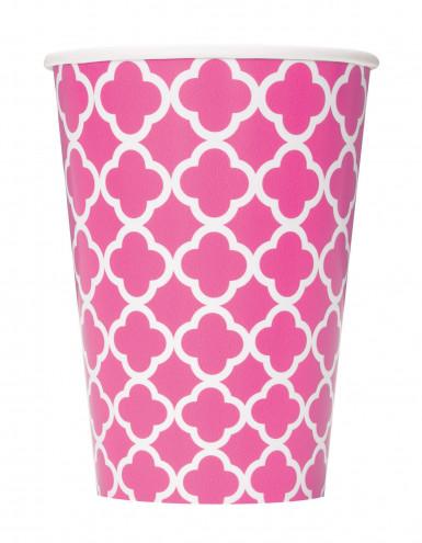 6 bicchieri di carta rosa a motivi grafici 355 ml