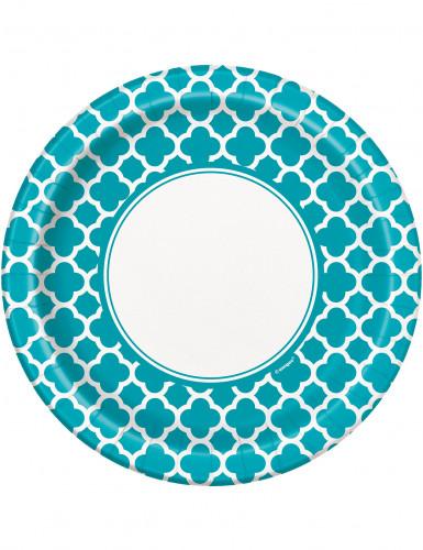 8 piatti di carta grafica bianca su sfondo turchese