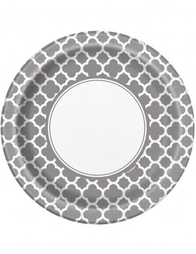 Lotto 8 piatti in cartone in stile Grafico color argento diametro 22 cm
