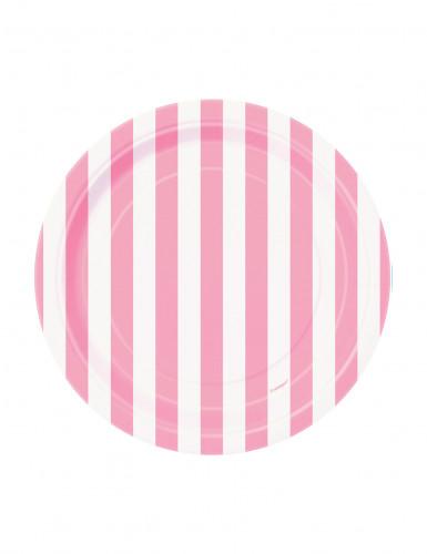8 piatti di carta bianchi a righe rosa 17 cm