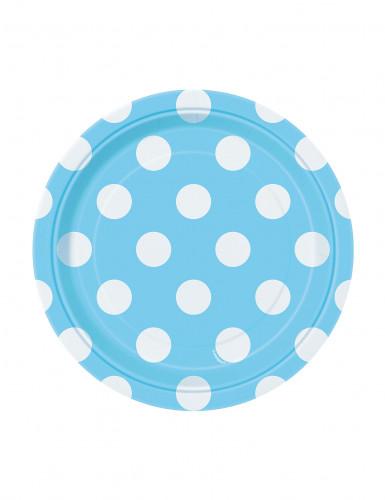 8 piatti piccoli di carta blu e bianchi 17 cm