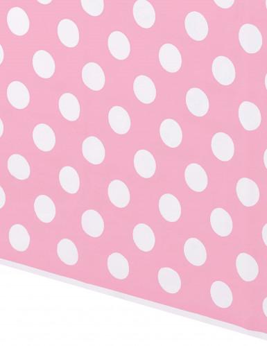 Tovaglia di plastica rosa a pois bianchi 137 cm x 274 cm-1