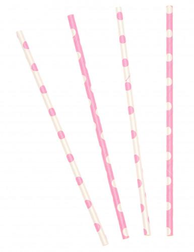 10 cannucce in cartone rosa chiaro a pois bianchi 21 cm
