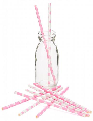 10 cannucce in cartone rosa chiaro a pois bianchi 21 cm-1