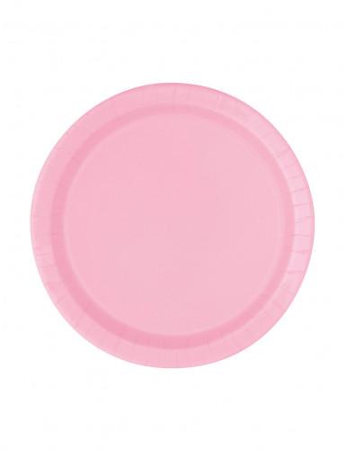 20 piattini in cartone rosa chiaro da 17 cm