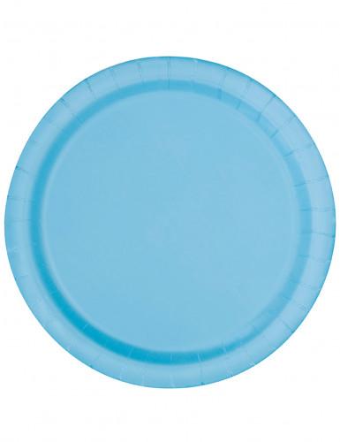 16 piatti blu pastello in cartone 22 cm