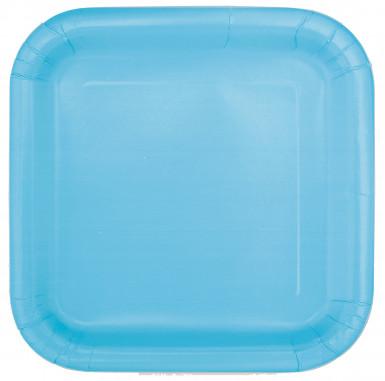 14 piatti di carta color azzurro pastello di misura 22 cm di diametro