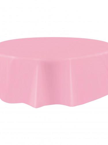 Tovaglia rotonda plastificata da 213 cm rosa chiaro-1