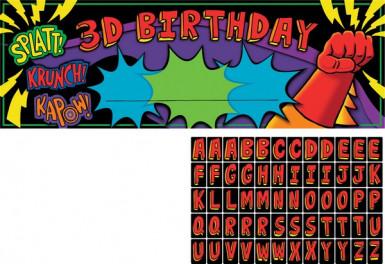 Striscione personalizzabile per un compleanno da Supereroe