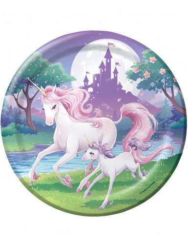 8 piatti decorati con unicorni
