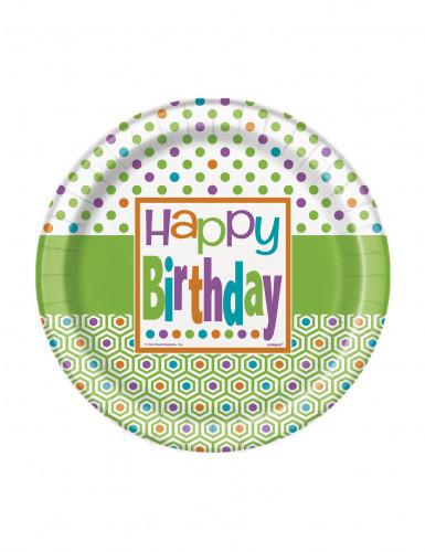 8 piattini di carta con scritta Happy Birthday
