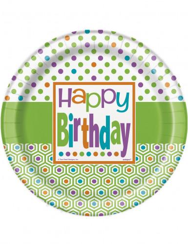 8 Piatti usa e getta Happy Birthday
