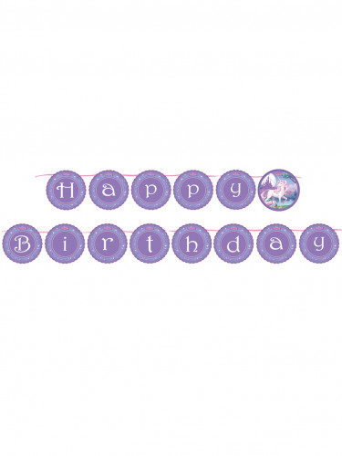 Ghirlanda Happy Birthday viola con unicorno
