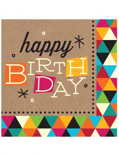 16 Tovagliolini di carta Kraft con stampa Happy Birthday