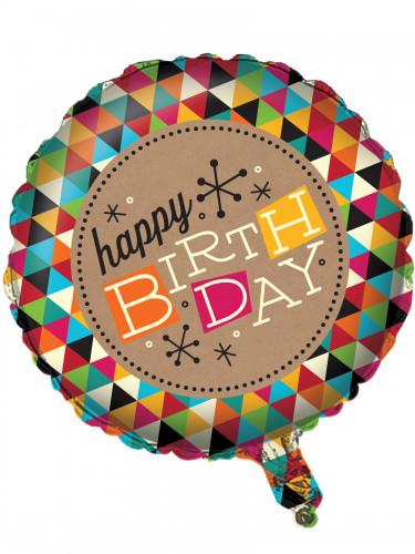 Palloncino in alluminio Happy Birthday effetto carta Kraft