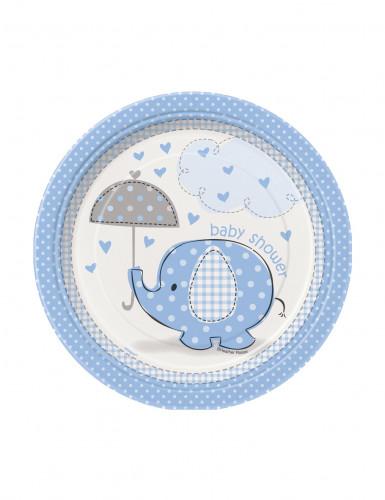 8 piccoli piatti in cartone a tema Elefante azzurro con diametro da 18 cm