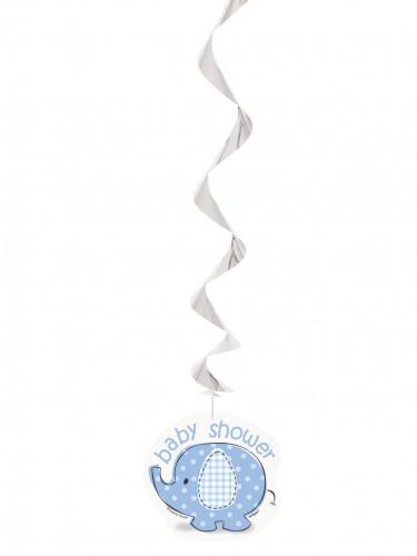 3 decorazioni a spirale da appendere con elefantino blu