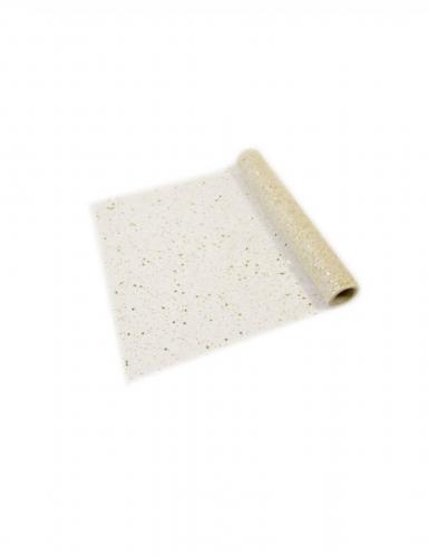 Runner da tavola in tulle dorato con paillettes