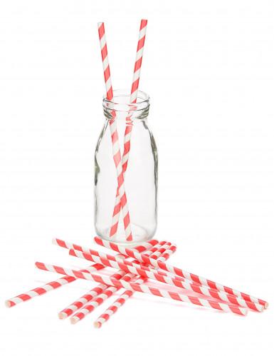 Confezione cannucce in cartone a strisce bianche e rosse-1