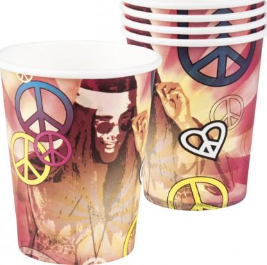Confezione da 6 bicchieri con fantasia hippy