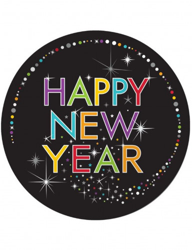 Confezione 8 piatti di cartone Happy New Year