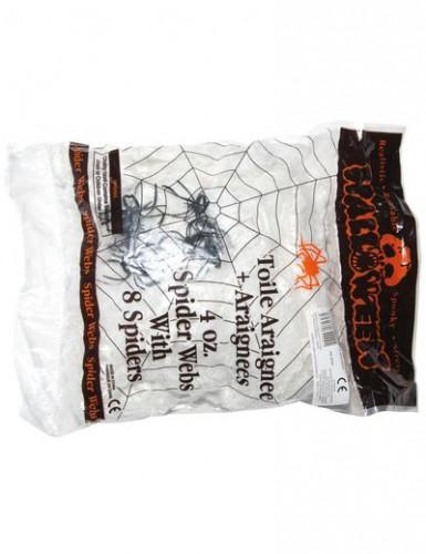 Ragnatela bianca con 8 ragni per Halloween