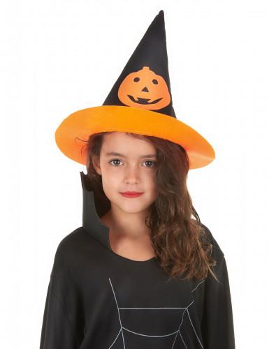 Cappello da strega per bambino con zucca di Halloween-1