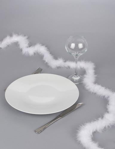 Ghirlanda da tavolo in piuma bianca-1