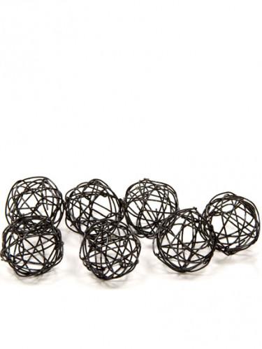12 Palle metallo nero 2 cm da decorazione