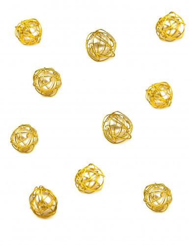 Lotto di 20 perline con filo di metallo dorato
