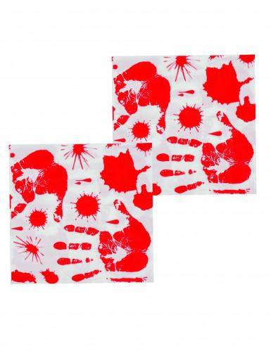 12 tovaglioli di carta con impronte di mani insanguinate