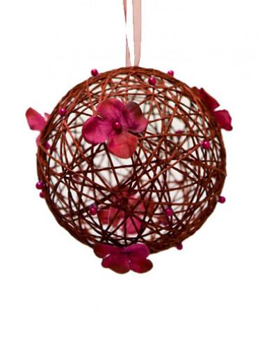 Palla decorativa da appendere color bordeaux con fiori 12 cm