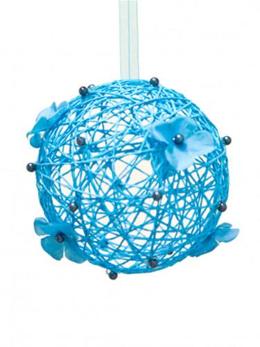 Sfera decorativa da appendere azzurra 12 cm