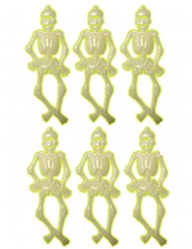 6 scheletri fosforescenti per Halloween
