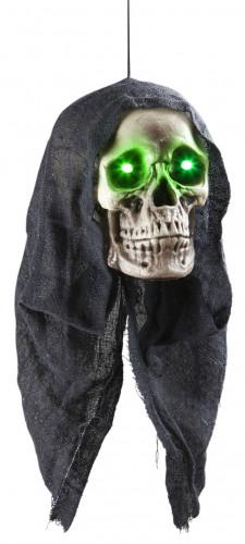 Decorazione cranio luminoso verde per Halloween