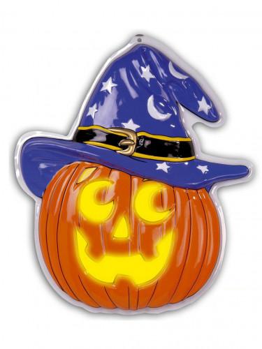 Decorazione Halloween: zucca con cappello plastica