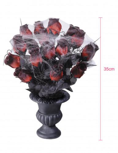 Bouquet di rose rossa Halloween con ragnatela-1