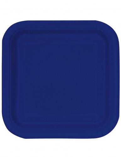 14 Piatti di cartone quadrati blu navy di 23 cm