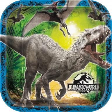 8 piatti quadrati in cartone Jurassic World™ 22 cm