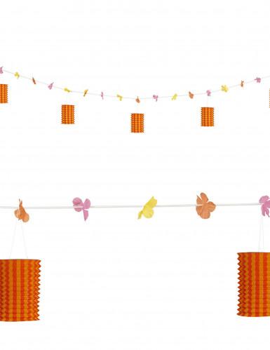 Ghirlanda di fiori e lanterne lunga 3 m