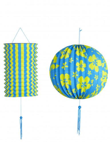 2 lanterne blu e gialle in stile Hawaii
