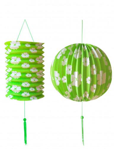 2 Lanterne verdi con fiori bianchi