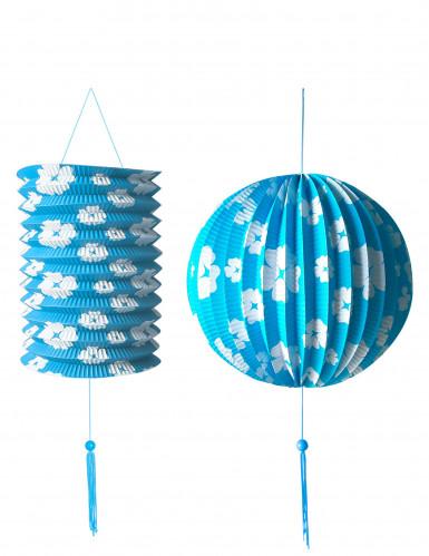 2 Lanterne di carta azzurre con fiori bianchi