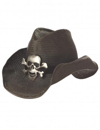 Cappello nero da cowboy con teschio argentato