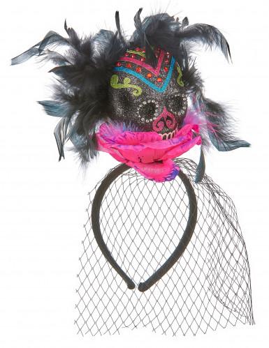Copricapo con teschio colorato da donna per Halloween